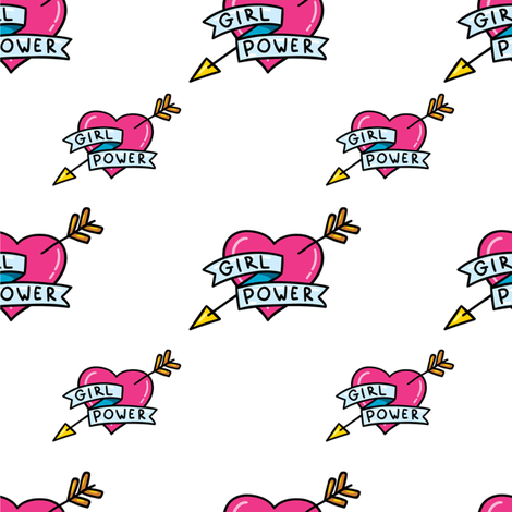 Girl Power Hearts and Arrow fabric by hipkiddesigns on Spoonflower - custom fabric