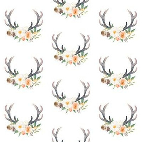 Small Peach Floral Antlers