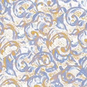 Vintage Lace Watercolor Blue Gold