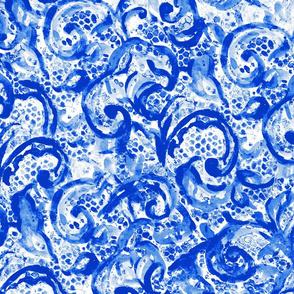 Vintage Lace Watercolor Blue Porcelain