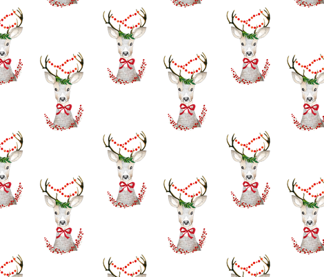 "8"" Holiday Fancy Deer / White fabric by shopcabin on Spoonflower - custom fabric"