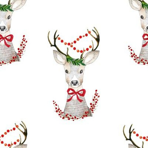 "8"" Holiday Fancy Deer / White"