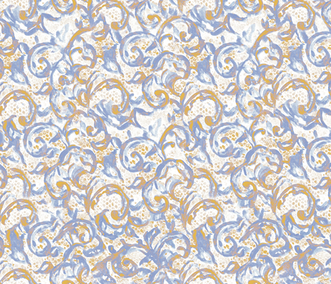 Vintage Lace Watercolor Blu Gold Small Scale fabric by mjmstudio on Spoonflower - custom fabric