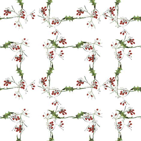 Holly Jolly Wreath fabric by lilyoake on Spoonflower - custom fabric