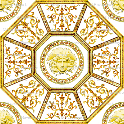 octagon baroque rococo medusa swirls scrolls filigree greek greece versace inspired victorian Mythology monsters gorgons golden