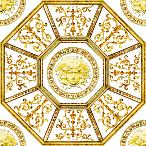 octagon baroque rococo medusa swirls scrolls filigree greek greece versace inspired victorian Mythology monsters gorgons golden fabric by raveneve on Spoonflower - custom fabric