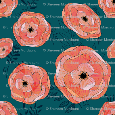 Teal and coral floral