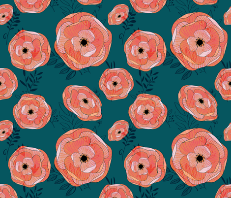 Teal and coral floral fabric by six_little_spoons on Spoonflower - custom fabric