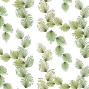Retro Leaves Olive on White 300