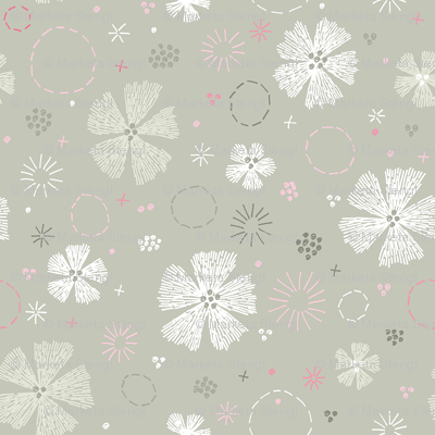 Carthusian Pink Embroidery small Sand Gray