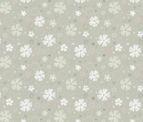 Carthusian Pink Embroidery small Sand Gray fabric by marketa_stengl on Spoonflower - custom fabric