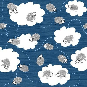 Sheep in Clouds Blue