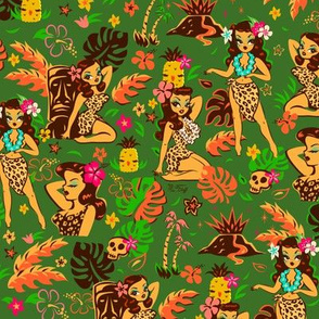 Tiki Temptress on Green - SMALL