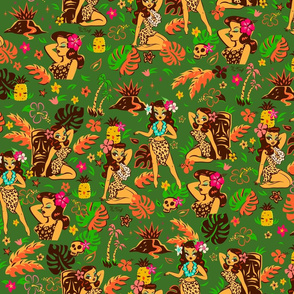 Tiki Temptress on Green- MEDIUM