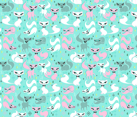 Swanky Kittens-SMALL fabric by miss_fluff on Spoonflower - custom fabric