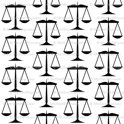 Black Scales of Justice on White