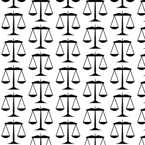 Black Scales of Justice on White fabric by mtothefifthpower on Spoonflower - custom fabric