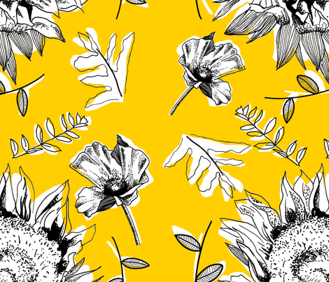 Bold Sunflowers and Poppies fabric by lizziemaydesign on Spoonflower - custom fabric