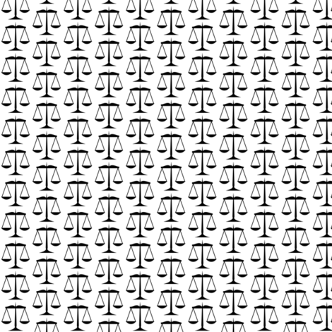 Small Black Scales of Justice on White fabric by mtothefifthpower on Spoonflower - custom fabric
