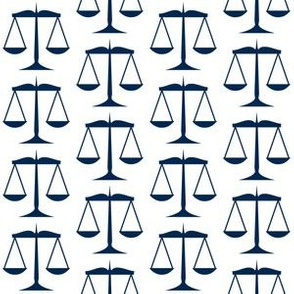 Navy Blue Scales of Justice on White