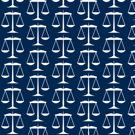White Scales of Justice on Navy Blue fabric by mtothefifthpower on Spoonflower - custom fabric