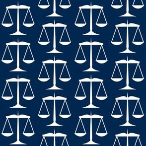 White Scales of Justice on Navy Blue