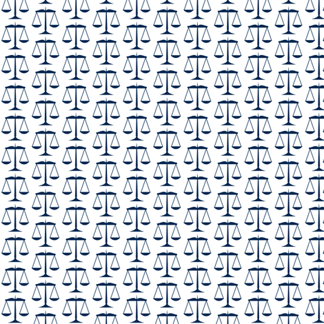 Small Navy Blue Scales of Justice on White fabric by mtothefifthpower on Spoonflower - custom fabric