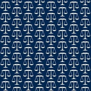 Small White Scales of Justice on Navy Blue