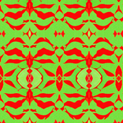 ASIAN MODERN DAMASK Red & Green