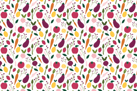 Farmers Market Fruits and Vegetables fabric by kristinnicoleart on Spoonflower - custom fabric