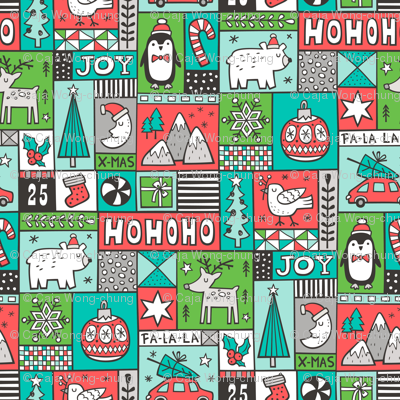 Christmas Patchwork Red Green Mint