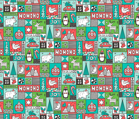 Christmas Patchwork Red Green Mint fabric by caja_design on Spoonflower - custom fabric