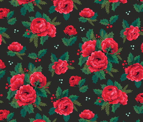 Winter_Floral_black fabric by acdesign on Spoonflower - custom fabric