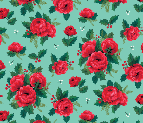 Winter Floral Aqua fabric by acdesign on Spoonflower - custom fabric
