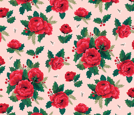 Winter Floral Pink fabric by acdesign on Spoonflower - custom fabric