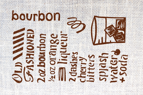 Old Fashioned Cocktail Tea Towel - Linocut fabric by whyitsme_design on Spoonflower - custom fabric