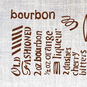Old Fashioned Cocktail Tea Towel - Linocut