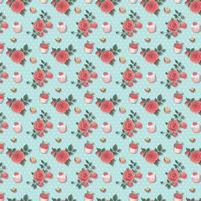 Sweet Florals - Blue Cupcake Floral