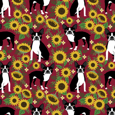 boston terrier sunflower fabric dogs and sunflowers floral design - burgundy fabric by petfriendly on Spoonflower - custom fabric