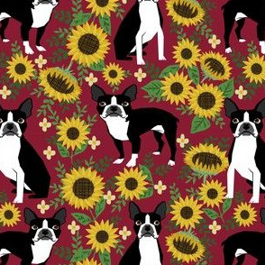 boston terrier sunflower fabric dogs and sunflowers floral design - burgundy
