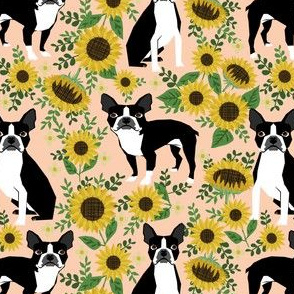boston terrier sunflower fabric dogs and sunflowers floral design - blush