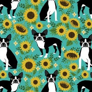 boston terrier sunflower fabric dogs and sunflowers floral design - turquoise