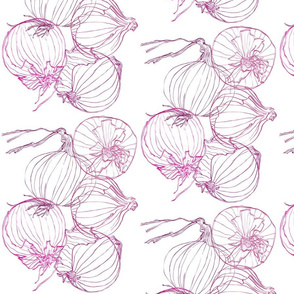 Tumbling Red Onions Line Drawing