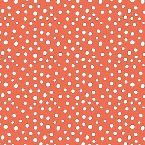 Can Can Dots Coral and White small
