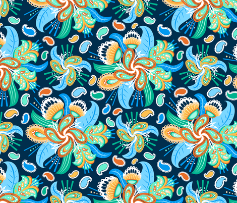 Painted Paisley (4)(Lg) fabric by jjtrends on Spoonflower - custom fabric