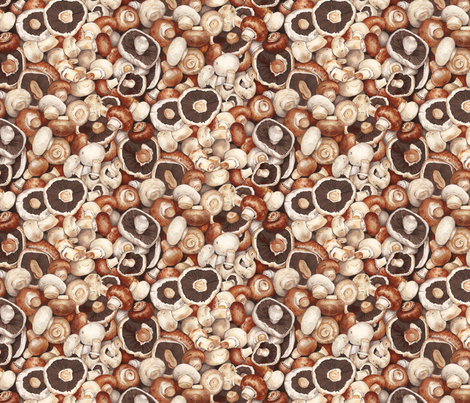 Brown Cap Mushrooms fabric by stitchyrichie on Spoonflower - custom fabric