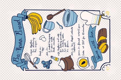 Ba-Nana Bread Recipe Tea Towel // family banana bread recipe hand lettering gingham kitchen utensil tea towel fat quarter fabric  fabric by liz_sawyer_design on Spoonflower - custom fabric