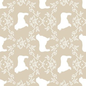 Australian Shepherd florals silhouette dog pattern sand