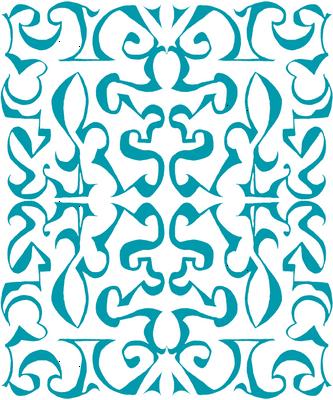 ARABESQUE Turquoise on White