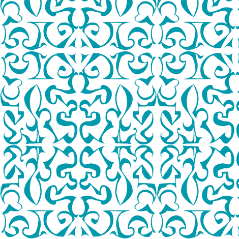 ARABESQUE Turquoise on White fabric by shi_designs on Spoonflower - custom fabric